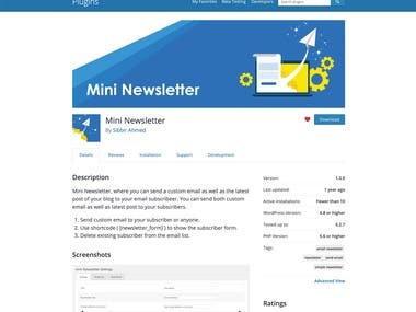 Mini Newsletter, where you can send a custom email as well as the latest post of your blog to your email subscribers. You can send both custom email as well as the latest post to your subscribers.
