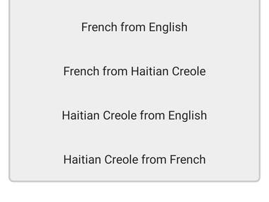 Learn and Speak Haitian creole from English, French, Spanish, Afrikaans, Portuguese, Swahili, Italian, German, Russian, Japanese, Latin via audios, phonetics, images and quizes.  The Haitians learning app has 2,135 words with 55 categories. It contains pronunciation, Dictionary, and phonetics of words for easy learning. Switch base language, Play Audio, Potpourri and retention games are the main features of Speak Haitian creole app.