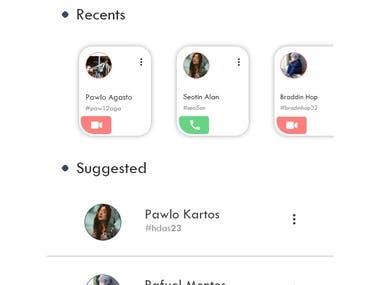 Calling app ui design