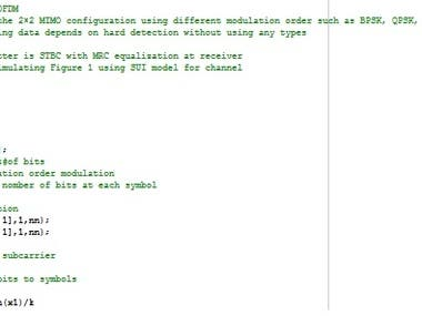 This is the Matlab code for simulating MIMO-OFDM network using different coding techniques such as (Convolutional coding, LDPC coding, and RS coding).