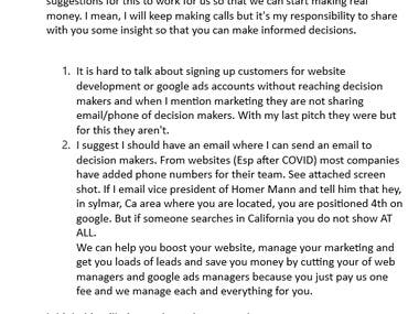 These are some of the emails I have written - It is a sample that indicates I can write professional, to the point and precise emails.