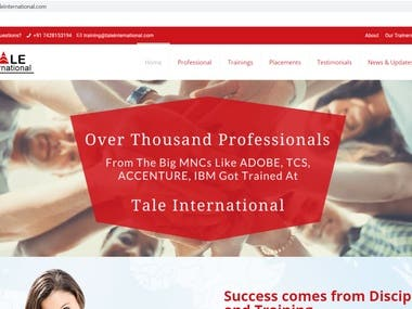 Website Development, Hosting and Maintenace of Tale International Private Limited.