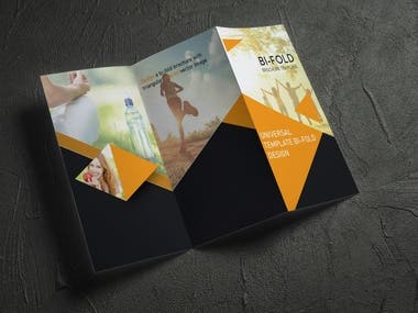 Design a white vector tri-fold brochure with yellow triangles for headlines and photos. Universal abstract template of a folding flyer.