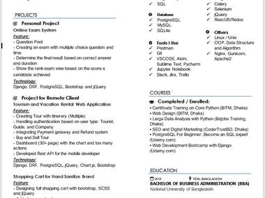 This is a resume for my client on freelancers, it based on his software skills. I can make both techy and non-techy resumes for you with my experience. Try it and get your cv ready today.