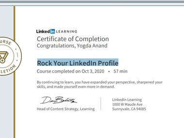 "Have been certified to update and ""Rock Your LinkedIn Profile"". This makes You a "" Brand "" and will help you stand out amongst your competition.  Check out my LinkedIn for more details: https://www.linkedin.com/in/yogda-anand-35b31245"
