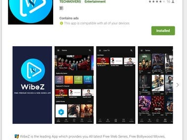 ? WibeZ is the leading App which provides you All latest Free Web Series, Free Bollywood Movies, Free Hollywood Movies & TV Shows in HD.  ? Stream your favourite movies & Web Series Here!