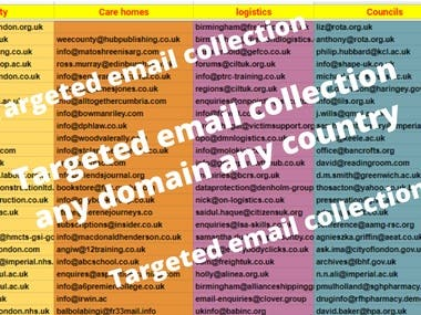 Hi  Dear buyer, I will provide you any company, person email id various types of domain name. Any country's people's mail. Just say how much you need.