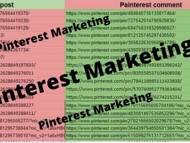 At its social media heart, Pinterest is marketing.  Creating boards, finding people to follow and pinning things related to your industry and then also pinning your own products, services or blog articles that are linked to your website is all it takes! Of course - there is a time commitment many busy people can't spare.   I have the skill to create a professional Pinterest presence for you. Your updated account will showcase your product, service or posts to millions of users searching for experts, boards & pins in your niche.   During the time period, I will do the following:  New account setup Analysis and revision of existing account Update Profile  Pin   Repin Create new boards that fit in your niche Organize current boards Follow People & Boards in your niche Keep you updated throughout the process with consistent communication  Extra Services Apply for Group Boards Create & Design Mix & Unique Pins  Claim Website Set Up Rich Pins  ★ Monthly Management Packages  ~