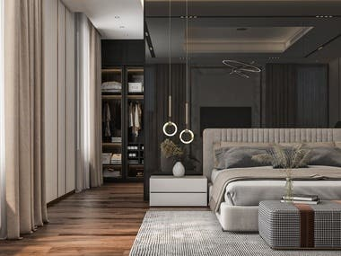 Interior design for master bedroom using modern style. This design was for a villa in Dubai