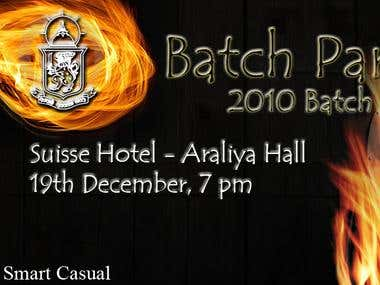 A ticked designed for batch party