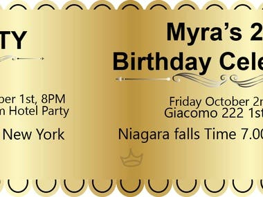 I designed a fansy party ticket for a buyer from new york