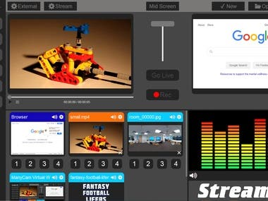Desktop application to broadcast video streaming.  Input Type for Streaming: 	- Video 	- Image 	- Camera 	- Browser  Main skill: 	- FFMpeg library 	- SDL library 	- OpenGL library 	- OpenSSL library