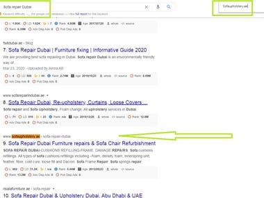 I have work for Sofa repair company in Dubai and got first page ranking on google ( Sofaupholstery.ae )