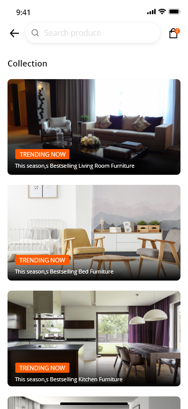Home app showing home , office and Relaxing Furniture  - I used intro Slider , Firebase , material design , and some libraries