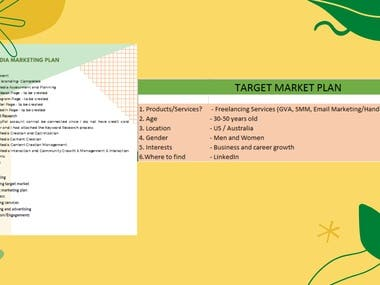 Social Media Management:  1. Content Plan 2. Scheduling/Posting via Hootsuite