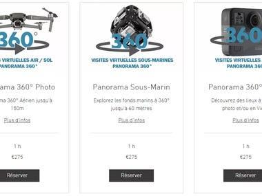 Les Panorama 360° sont réalisés par assemblage de 34 photos contrôlées et qui peuvent être retouchées une à une au format JPG/DNG (RAW). Plusieurs Panorama peuvent être assemblés pour une visite virtuelle avec liens interactifs, musique de fonds ou voix-off, plan de sol et avec intégration du code html sur votre site web ou visite privée protégée par mots de passe.  Tarif dégressif suivant le nombre de Panorama 360° aérien achetés soit :  - 450 € le deuxième soit 100 € d'économie - 625 € pour 3 Panorama soit 200 € d'économie - 1250 € pour 6 Panorama soit 400 € d'économie - 2500 € pour 12 Panorama soit 800 € d'économie  Je propose également des visites virtuelles au sol à partir de 275 € en photographie résolution jusqu'à 18 Mpx et en Vidéographie jusqu'au 5,6 K / HDR avec la GoPro Fusion 360°.