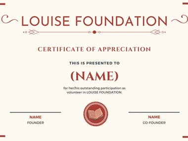 A Certificate of appreciation that I designed for an NGO.