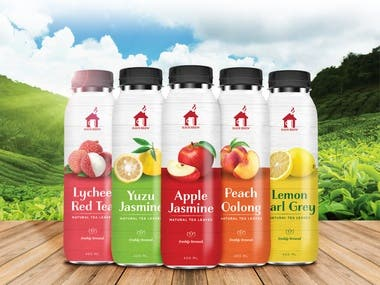 Bottle packaging design for Haus Brew Fruit Tea Available in stores across Singapore