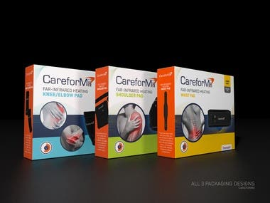 Packaging design for medical curing device - Waist, Knee & elbow and shoulder I have created these packaging designs for medical curing device product range. I have been provided with all the content by the client. I did everything including text placement, product image retouching and creating 3D mockups as well. The final files were included with Adobe Illustrator and high resolution print pdf file