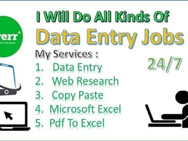 I will do any kind of Data Entry and Web Research.