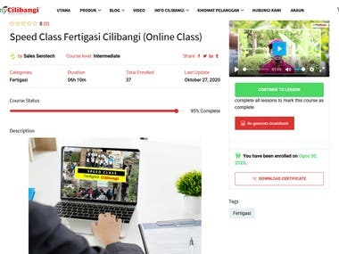 This LMS is for cilibangi.com do their training online on how to plant chili.