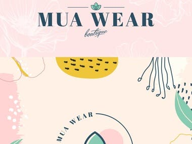 "Presentation of ""MUA Wear"" logo design"
