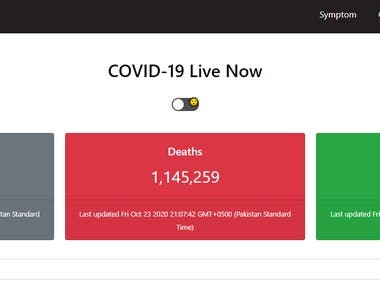 In this project  I have created a react coved 19 website this website consist of following functionalities :  1 Daily automatically updating of coved 19 Cases across globe 2 show graph of coved cases and death cases rate 3 precautions and symptoms of coved 19.  Live server link :  https://1234react.000webhostapp.com/