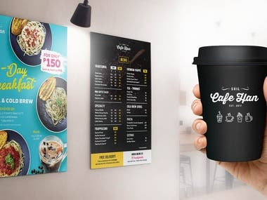 Developed design from logo - incorporating to other marketing materials such as, menu design, menu board, t-shirt, coffee cup, etc