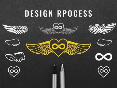 The client wanted to visualize a specific idea he had in mind for a new logo. He needed a design that was inspired by a couple of photos of jewelry that he particularly liked.  He presented me with images of small, metallic ornaments like hearts, wings, and symbols and pointed out what exactly he favored the most in each photo. We discussed each picture together and drew inspiration from shapes, patterns, and details we could use. This collaboration allowed me to get a clear idea of how the client envisioned the finished work.  Now that I had a good idea of what he was looking for, I experimented with different compositions for the style of the wings until we found a suitable shape we could further develop.  The most complicated task was to design the feathers of the wings. We had reference photos, but they had to be unique and match the rest of the design. I decided to manually draw them all with a calligraphy tool, which allowed me to be precise and achieve a one-of-a-kind look.