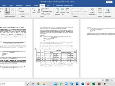Technical report writing with formula and function using MS Words.
