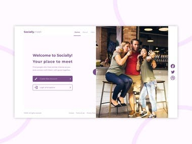 Landing page for a social media website where users can find people of same interest and meet them.