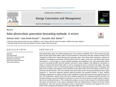 Title : Solar photovoltaic generation forecasting methods : A review Period in produces paper : 7 months Journal of Publication : Elsevier -  Energy Conversion and Management Paper received : 26 May 2017 Paper received in revised : 1 November 2017 Paper accepted : 6 November 2017 Publication online (year) : 2018