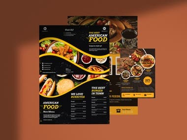 I designed a resturent flyer or brochure with food item and food prize.