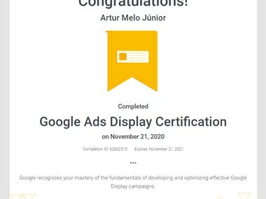Google recognizes your mastery of the fundamentals of developing and optimizing effective Google Display campaigns.