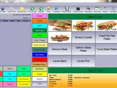 This POS was designed and developed to mange Restaurants(both sit in and take away). The system was benchmarked with Micros POS(a leading POS system used globally).