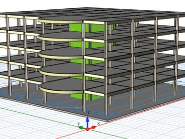 A project completed on ProtaStructure featuring analysis, design and detailing supported by raft foundation.