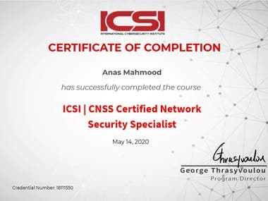 CNSS from ICSI (International Cyber Security Institute), UK
