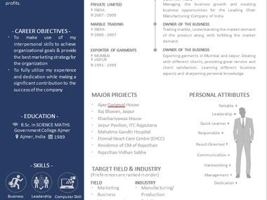 Marketing background resume for a person having 30years of experience. Designed by me. Totally new and 100% plagiarism free, delivered within 7hours after accepting the project.
