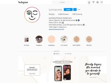 I did massive ongoing Instagram marketing for the beauty industry, hair care, lense, etc. I help the business owner grow their follower organically, creating a post, design, and do content writing for social media. I help businesses owner to reduce their workload so they can focus on their business growth.
