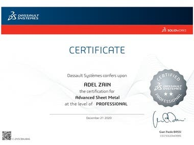 PROFESSIONAL - Sheet Metal Certified SolidWorks Professional Advanced SheetMetal