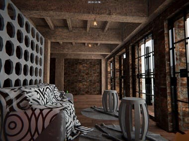 Virtual tour of the room with realistic asthetics.