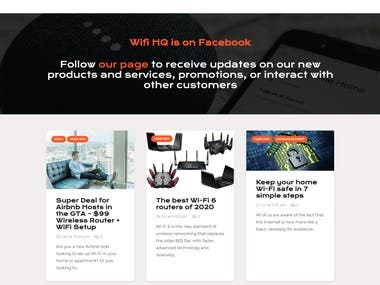 The website created from scratch with highly responsive using free theme created from scratch along with the Woo-Commerce, and other useful plugins. Check out the link - https://www.wifihq.ca/