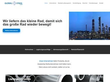 A home page developed in WordPress for a steel company in Germany