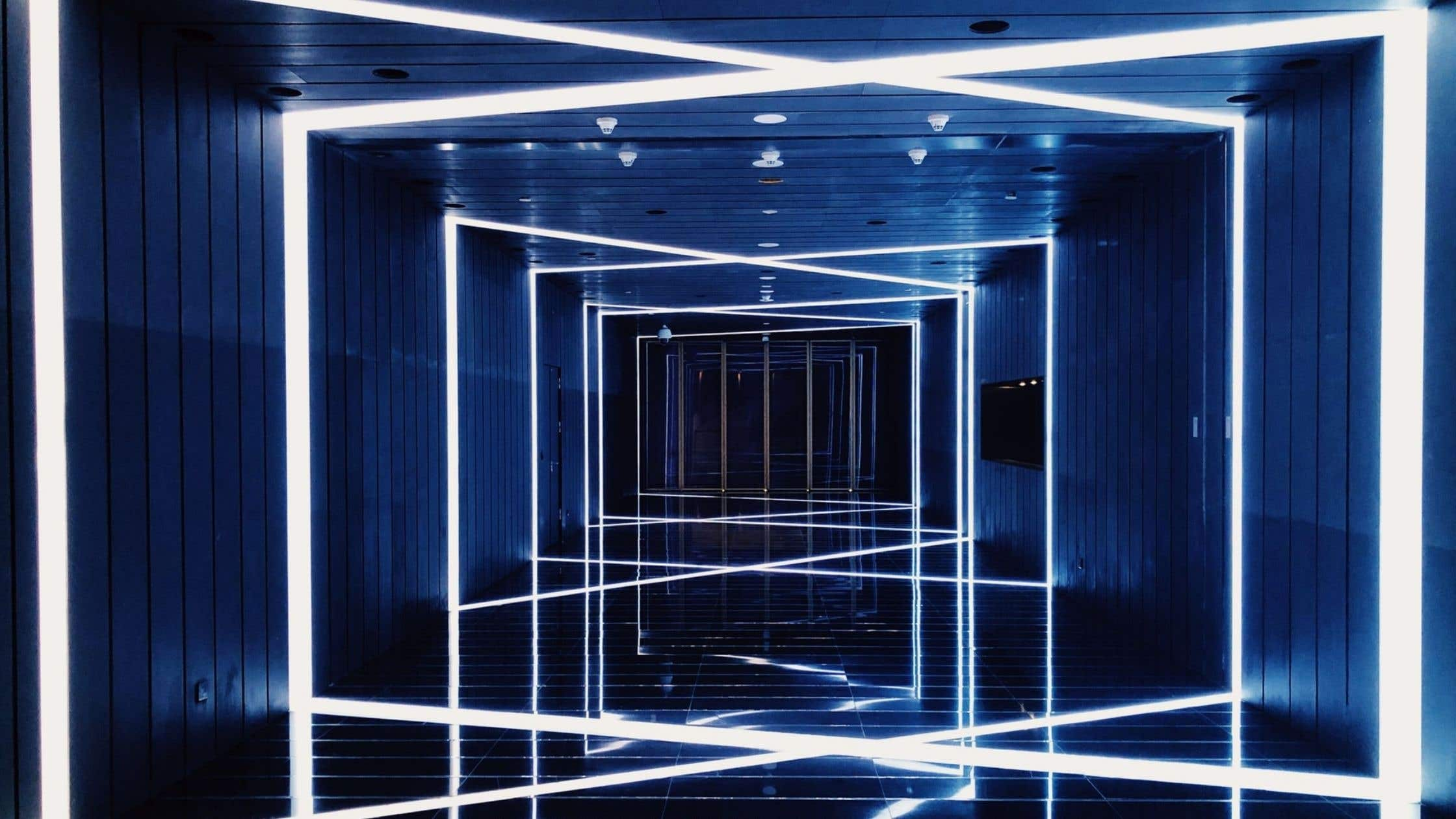 office corridor with criss-crossing led lights