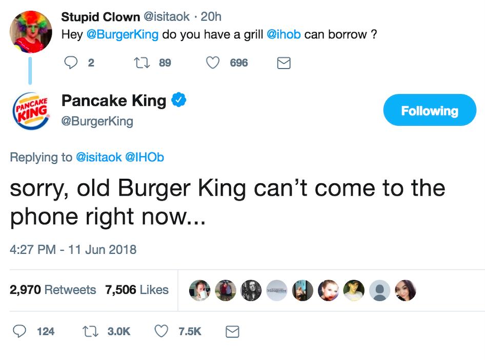 Burger King Pancake King tweeet
