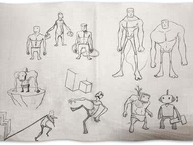 """Character Design Sheets for my student short \""""Osmose\"""" - 2014"""