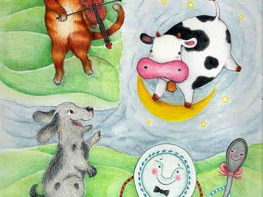 Illustrations for a Nursery rhymes book published by Hunter-Grundin / Solar Learning in 2011 in the UK.