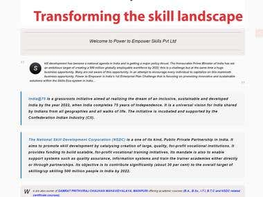 This is a website based on WordPress for National Skill development  Corporation in India.