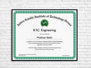 Some certificates for many Indian universities.