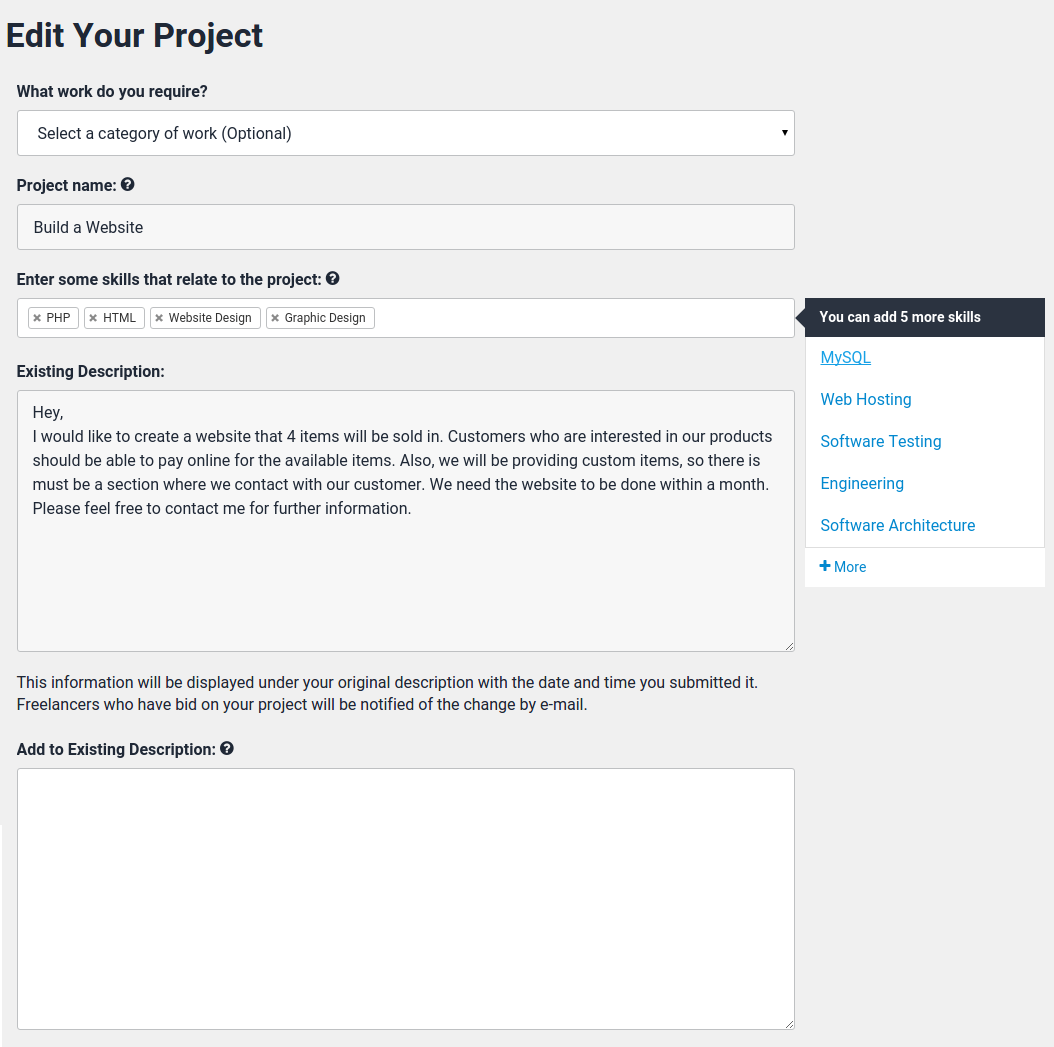 how to edit a project after it s posted project lancer support this information will be displayed under your project s original description the date and time you submitted it lancers who placed a bid on your
